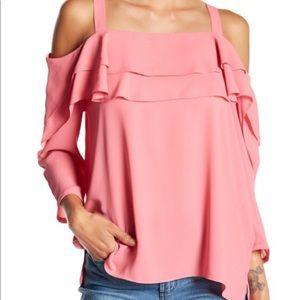 NWT NYDJ Cold Shoulder Bisou Pink Ruffled Blouse